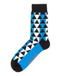 Björn Borg - Blue Geo Print Trainer Socks for Men - Lyst