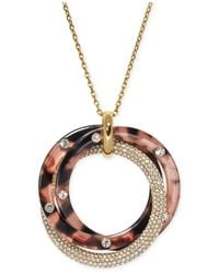 Michael Kors | Pink Rose Gold-tone Tortoise-look And Pavé Circle Pendant Necklace | Lyst