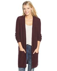 Halogen | Purple Long Nep Yarn Cardigan | Lyst