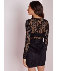 Missguided | Ladder Detail Lace Crop Top Black | Lyst