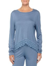 Cosabella - Blue Edith Lace-trim Long-sleeve Lounge Top - Lyst