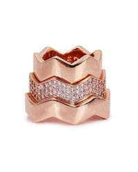 Eddie Borgo - Pink Rose Gold-plated Zigzag Ring Set - Lyst