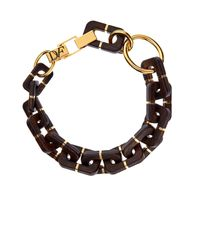 Diane von Furstenberg | Metallic Geometric Wood-Link Necklace | Lyst