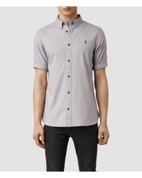AllSaints | Purple Redondo Half Sleeved Shirt for Men | Lyst