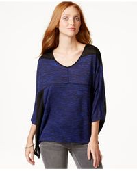 DKNY | Blue Marled Colorblocked Top | Lyst