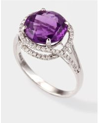 Effy | Purple Amethyst And Diamond Ring In White Gold | Lyst