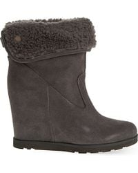 UGG - Gray Kyra Suede Boots - Lyst