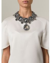 Night Market - Metallic Embellished Ribbon Bib Necklace - Lyst