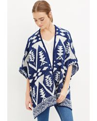 Forever 21 | Blue Southwestern-patterned Open-front Poncho | Lyst