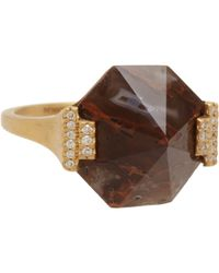 Monique Péan | Brown Dinosaur Bone & Diamond Ring | Lyst