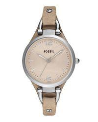 Fossil - Metallic 'georgia' Leather Strap Watch - Lyst