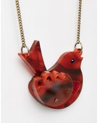 Tatty Devine | Brown Robin Necklace | Lyst