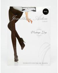 Jonathan Aston | Black Jonathon Aston Opaque Crystal Backseam Tights | Lyst