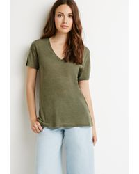 Forever 21 - Green Contemporary Heathered V-neck Tee - Lyst