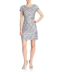 Adrianna Papell | Metallic Beaded Shift Dress | Lyst