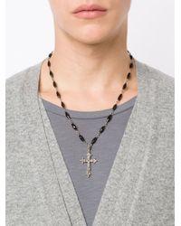 Roman Paul | Black Diamond Cross Pendant Necklace for Men | Lyst