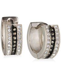 Judith Jack | Metallic Marcasite And Crystal Huggie Hoop Earrings | Lyst