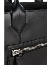 HUGO | Black Shopper 'valentine' In Textured Leather | Lyst