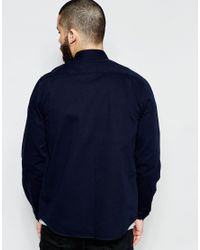 ASOS - Blue Military Overshirt In Navy With Long Sleeves for Men - Lyst