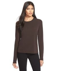 Eileen Fisher | Brown Silk Tee | Lyst