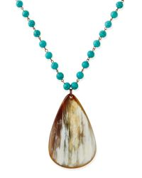 Nest | Metallic Turquoise Beaded Necklace With Horn Teardrop | Lyst