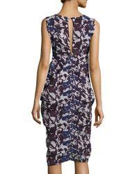 Zero + Maria Cornejo - Blue Sleeveless Floral-print Draped Dress - Lyst
