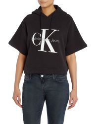 Calvin Klein | Black Short Sleeve Cropped Re-issue Hooded Sweatshirt | Lyst