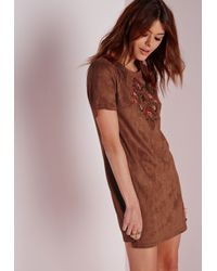 Missguided | Brown Embroidered Faux Suede Shift Dress Tan | Lyst