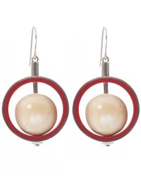 Marni - Metallic Silver-tone Metal Hoop Spinning Sphere Earrings - Lyst