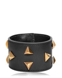 Saint Laurent | Brown Triangle Studs Leather Cuff Bracelet | Lyst