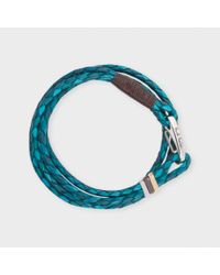 Paul Smith | Men's Sky Blue And Petrol Leather Wrap Bracelet | Lyst