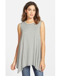 Chloe K - Gray Stripe Shark Bite Tank - Lyst