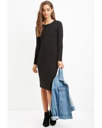 Forever 21 - Black Ribbed Bodycon Midi Dress - Lyst