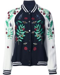 Façonnable - Blue Embroidered Bomber Jacket - Lyst
