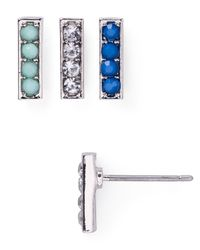 Aqua | Metallic Lexi Stud Earrings, Set Of 3 | Lyst