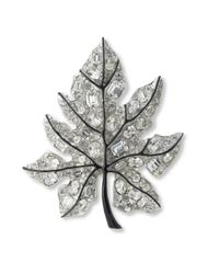 Kenneth Jay Lane | Metallic Crystal Leaf Brooch | Lyst