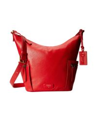 Fossil | Red Emerson Small Hobo | Lyst