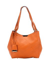 Burberry | Copper Orange Check Embossed Calfskin 'canterbury' Tote Bag | Lyst