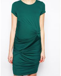 ASOS - Gray Body-conscious Dress With Drape Knot - Lyst