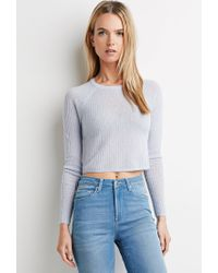 Forever 21 - Blue Ribbed Crop Top - Lyst