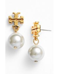 Tory Burch | Natural Faux Pearl Drop Earrings | Lyst
