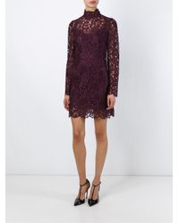 Dolce & Gabbana - Purple Floral Lace Dress - Lyst