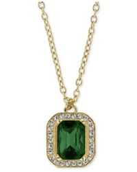 2028 | Metallic Gold-Tone Green Stone And Crystal Octagon Pendant Necklace | Lyst