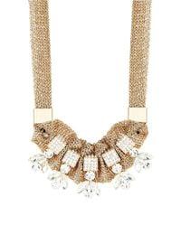 ABS By Allen Schwartz | Metallic Stone Accented Multirow Necklace | Lyst