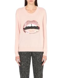 Markus Lupfer - Natural Lara Lip Joey Sequin-embellished Merino-wool Jumper - Lyst