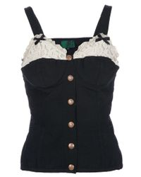 Jean Paul Gaultier | Black Corset Vest Top | Lyst