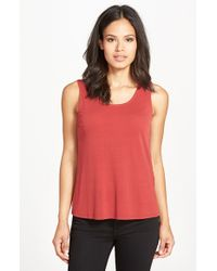 Eileen Fisher | Red Silk Jersey Tank | Lyst