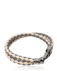 Tod's - Gray My Colors Double Wrap Leather Bracelet - Lyst