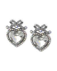 Betsey Johnson - Metallic Crystal Heart Bow Stud Earrings - Lyst