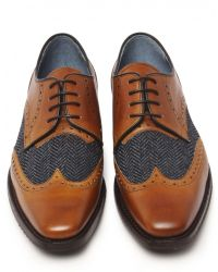 Jules B - Brown Leather & Tweed Derby Shoes for Men - Lyst